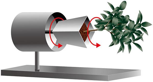 回転により重力の方向を変えることのできる装置(クリノスタット)