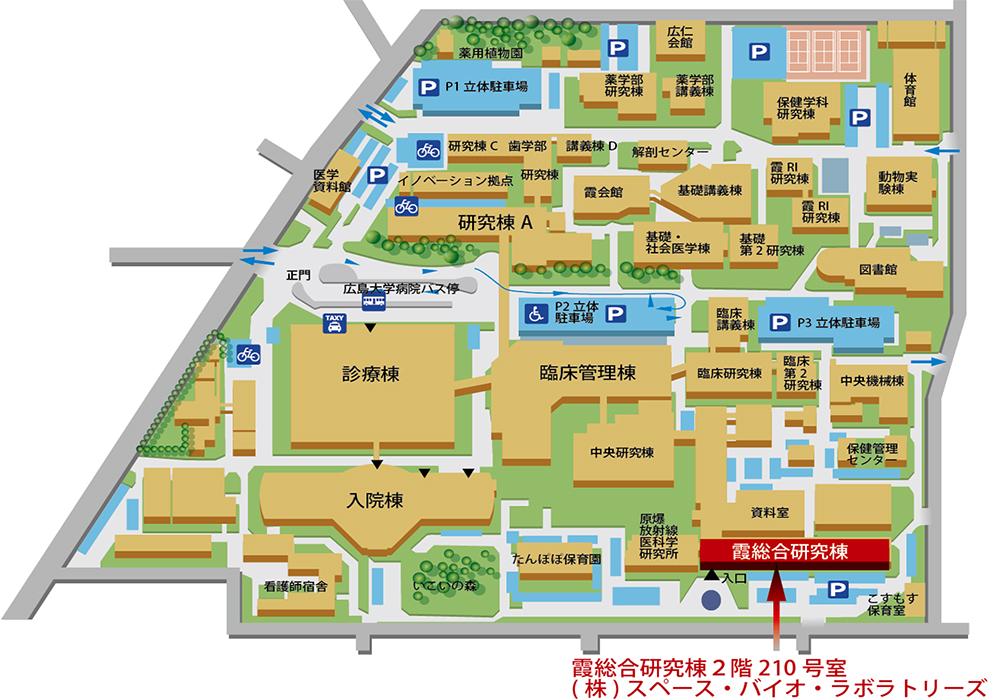 スペース・バイオ・ラボラトリーズ 広島大学霞キャンパスマップ